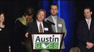 Greg Pierce, President of Zuma, receives the Charitable Champions award at the Austin Gives event.